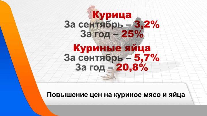 В Татарстане за сентябрь курица подорожала на 3,2%, а яйца - на 5,7%