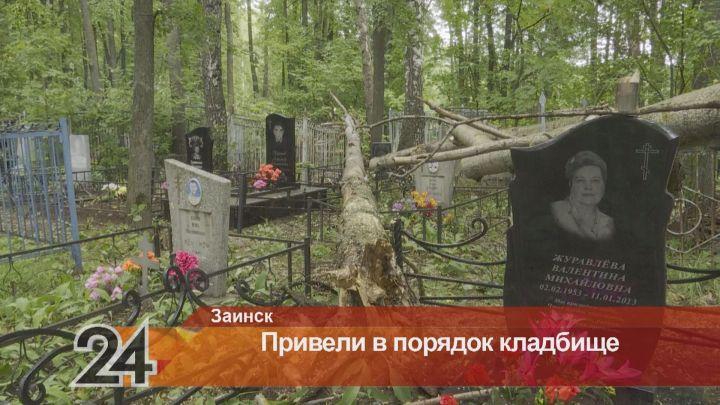 В Заинске с территории кладбища убрали поваленные ветром деревья