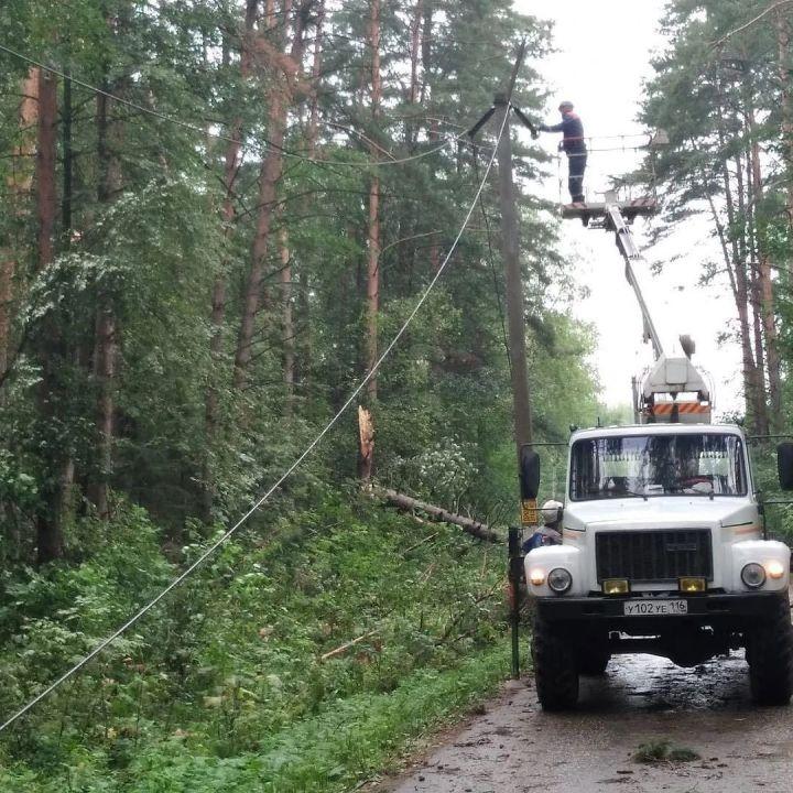 Непогода в Высокогорском районе стала причиной поваленных деревьев и сорванных проводов